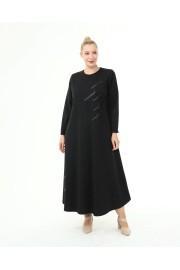 Shine Kadın Gülce Boydan Taşlı Kışlık Ecrin Siyah Elbise