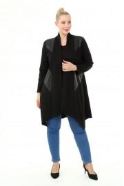 Shine Kadın Suzan Derili Uzun Siyah Ceket
