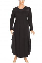 Shine Kombinli Mevsimlik Yanları Büzgülü Siyah Elbise
