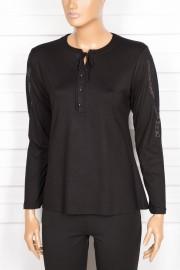 Simay Kolu Nakışlı Siyah Bluz