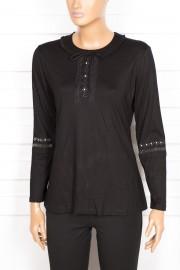 Simay Yakası Fırfırlı Siyah Bluz